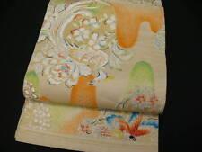 """Antique Beige Silk """"Maru-obi"""" w/Flower, Houou, Butterfly K551"""