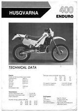 20711s Husqvarna 400 Enduro Specifications & Technical Data Sheet 1986