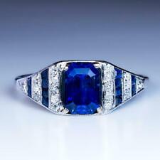 Zirconia Wedding Ring 925 Sterling Silver Blue Emerald Cut 2.50 Ct Vintage Cubic