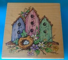 STAMPENDOUS!  Three Home Nest rubber stamp 1997 Made in USA