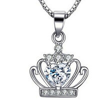 Fashion 925 Sterling Silver White Crystal Pendant Necklace Chain Valentines Gift