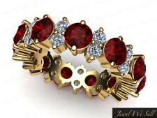 Natural 4.85Ct Ruby Diamond Garland Eternity Band Ring 14k Yellow Gold AA I SI2