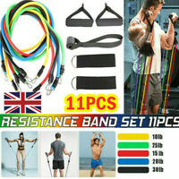 11 Piece Heavy Fitness Resistance Band Set Gym Tubes with Handle Door Anchor √√