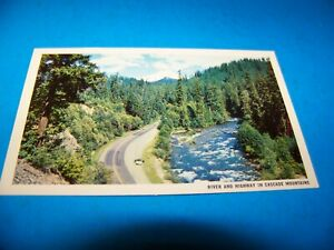 River & Highway In Cascade Mountains  Pacific Northwest  Vintage Postcard