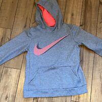 Nike Therma Fleece Training Hoodie Sweatshirt Girls Size XL Pink Gray 859972