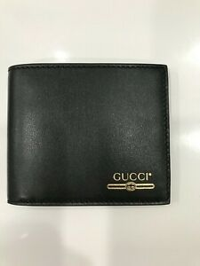New Gucci Mens Logo Black Gold Leather Bifold Wallet