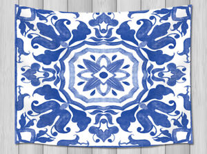 White And Blue Flower Image Tapestry Wall Hanging Bedspread Throw Dorm Decor