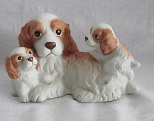 HOMCO PORCELAIN  BROWN AND WHITE COCKER SPANIEL FAMILEY MOTHER AND BABY PUPPIES