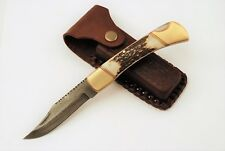 Damascus Lock Back Pocket Knife Folder with Stag Antler Handle & Leather Sheath