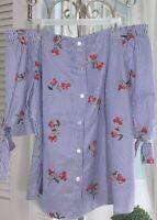 NEW~ Plus Size 3X 2X Blue Striped Boho Off-Shoulder Shirt Top Blouse