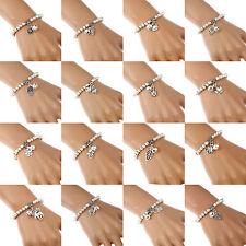 Women Fashion Silver Tone Bell Charm Beads Ball Stretch Bangle Bracelet Gift