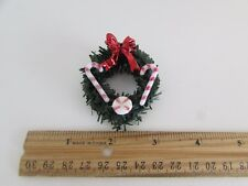 Dollhouse Miniature - Wreath with Red Bow, Candy Canes and Candy