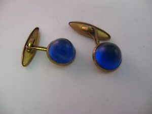 Antique Vintage Blue Dome Style Mens Cufflinks Jewelry
