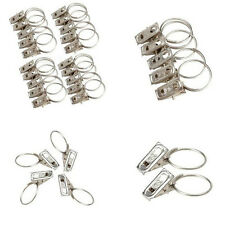 10PCS SLIVER METAL CURTAIN POLE ROD VOILE NET RINGS WITH CLIPS HANGING CLAMPS