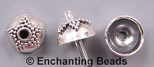 Bali Sterling Silver Star Dotted Bead Caps B1606 (6)