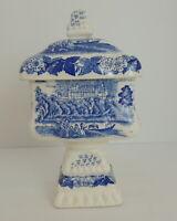 Vintage Blue Painted Ceramic Candy Dish Japan Pedestal Jar Lidded