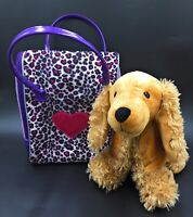 Pucci Pups Carry Bag With Zip & Brown Spaniel Puppy Soft Toy Pillow Dog Bundle
