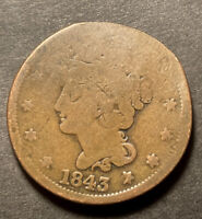 1843 Braided Hair Large Cent 1c Obsolete Collectible Us Type Coin Damaged