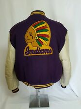 VTG 80's Purple & Gold Varsity Letterman Jacket Wool Leather Indians Embroidery