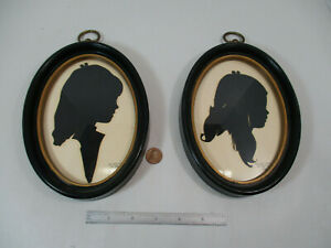 (2) Framed Cut Paper Silhouette Portrait Picture of Girls, Signed Guy Jones 1968