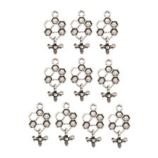 10pcs Bee and Honey Comb Pendant Silver Color Charms DIY Handmade Jewelry Making