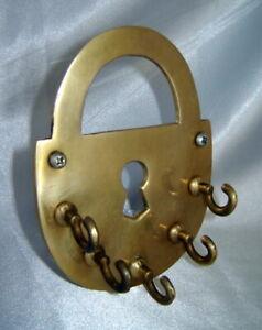 Solid Brass Rustic Keyhole Lock Wall Mount w/ Five Hanging Hooks for Keys