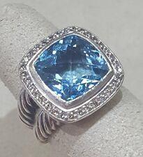 David Yurman Albion 11mm Blue Topaz & Diamond Ring Sterling Silver Sz 6