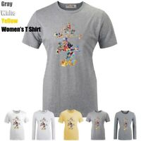 Welcome To Disney Mickey Mouse Print T-Shirt Womens Girls Graphic Tee Shirt Tops