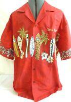 Winnie Fashion-Mens Hawaiian Shirt-Large-100% Cotton-Surfboard & Palm Tree Print