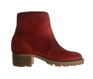 Durango Red Suede Zip Side Leather Boots Women's 8 D SW985