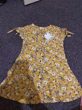 Girls Yellow Flowery Next Dress 4 Years