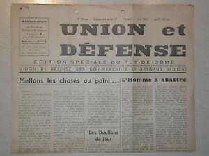 Union et défense UDCA Auvergne Mai 1957- édition spéciale Poujade