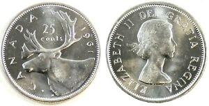 Canada 1961 Silver 25 Cents Choice BU UNC MS-63 Quarter!!