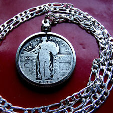 "1920's  Silver US Standing Liberty Quarter w/ 22"" 925 Sterling Silver Chain"