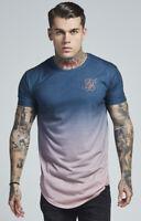 Sik Silk Mens New Short Sleeve Curved Hem Faded T Shirt Teal Rose Fade Blue