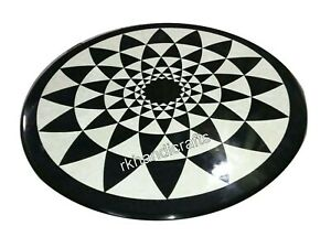 21 Inches Geometrical Pattern Inlay Sofa Table Top Round Marble Coffee