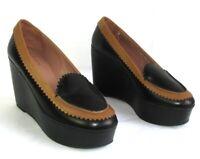 ROBERT CLERGERIE Chaussures URSULE plateforme cuir noir & camel 37 NEUF