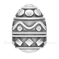 Lovelinks Bead Sterling Silver Russian Style Jewelled Egg Oxidised Charm TT657CZ