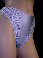 NEFER Thong Panty LACE & SATIN Lavender M NWT made in ITALY Refined Perfection!