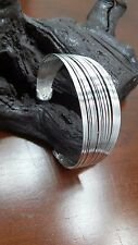 925 Sterling Silver Plated Bangle 27 Wire Lines Bracelet Cuff