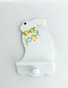 1/12 Dollhouse Miniature White Bunny Shelf & Peg Hook, Spring, Easter Wall Decor
