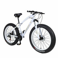 "26"" 21 Speed 4.0 Fat Tire Mountain Bike Snow Bicycle Grass Sand Fatbike White"