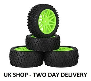 UK 12MM 1/10 OFF ROAD BUGGY RC WHEELS & TYRES X4 HSP HPI ACME CONDOR - GREEN