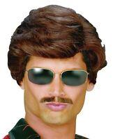 Adult Mens 80s Short Brown Used Car Salesman Fancy Dress George Michael Wig New
