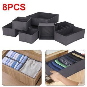 8 PCS Underwear Bra Fabric Socks Box Storage Organiser Drawer Dividers Foldable