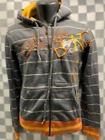 BILLABONG Grey Striped Hooded Zip Front Jacket Women's Size M