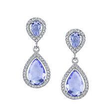 925 Sterling Silver Formal Drop Dangle Pear Shape Tanzanite Earrings with CZ's