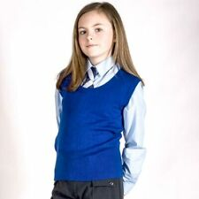 GIRLS KIDS SLEEVELESS KNITTED TANK TOP U-NECK KIDS UNIFORM SCHOOL WEAR