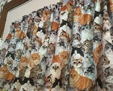 """Calico Tabby Siamese Cat Lovers Cats 42""""W 15""""L Window Curtain Valance Cotton"""