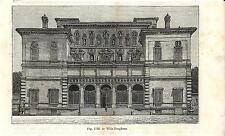 Stampa antica ROMA Veduta di Villa Borghese 1889 Old antique print Rome